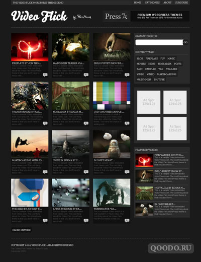 Press75 Video Flick v1.0 - Шаблон для WordPress